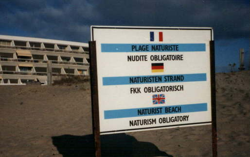 A sign on a beach in Cap d'Adge. Credit: Wikipedia