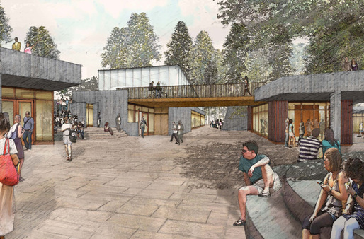 TWBTA's initial concept drawing of the Meadow Plaza for UC Santa Cruz's new Institute of the Arts and Sciences. Image © Tod Williams Billie Tsien Architects