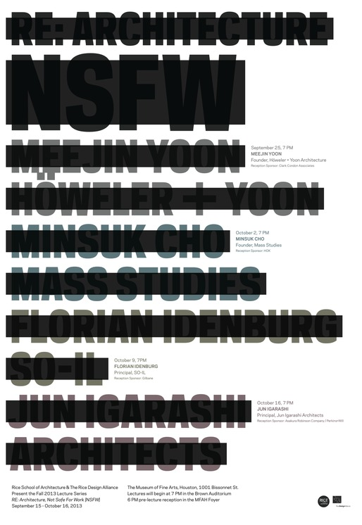"Poster for RDA/RSA's ""Re: Architecture [NSFW]"" Fall '13 lecture series. Design by Ian Searcy."