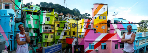 Painting an entire favela in Rio de Janeiro. Image from Favela Painting Kickstarter.