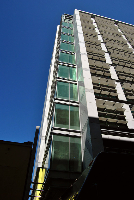 Rear of 525 Golden Gate at South West corner looking up at non-operable sun shades (Photo: Nam Henderson)