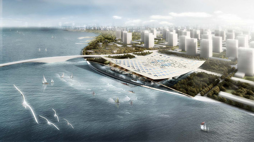Aerial view of the proposed new National Maritime Museum in Tianjin, China (Image: HAO+AI)