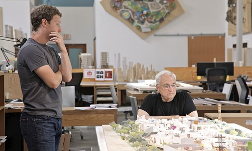 Mark Zuckerberg (left) discussing expansion plans with architect Frank Gehry. Photograph: Facebook/AFP. Image via theguardian.com.