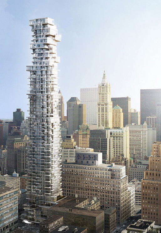 Herzog & de Meuron's 56 Leonard St. Tower where the $300,000 basement storage unit just sold