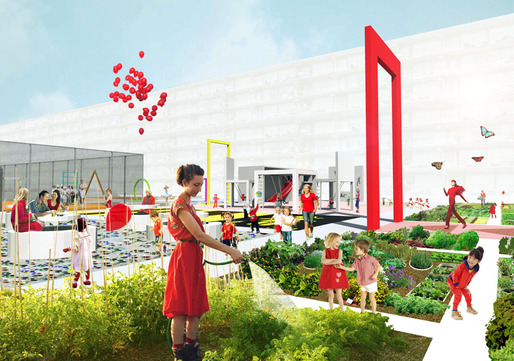 Spatial impression of the district garden and the picnic area in the foreground/ BOARD