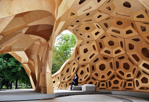 "ICD/ITKE Research Pavilion 2011 by Achim Menges - one of the featured works in ""Out of Hand"". Photo: Achim Menges."