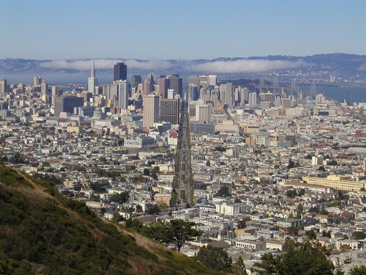 San Francisco, centered on Market Street. Image via Wikipedia.