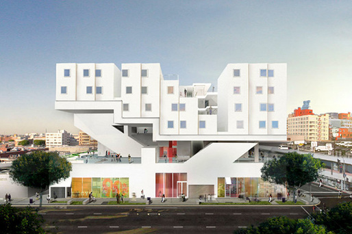 Rendering of the Michael Maltzan-designed Star Apartments in the heart of downtown LA's Skid Row. (Image via kcet.org)