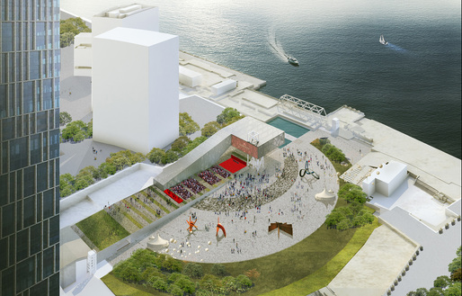 Aerial view of OMA's proposed Lujiazui Exhibiton Center in Shanghai. Image courtesy OMA