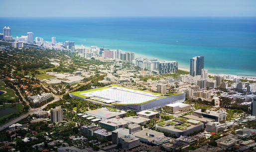 Aerial view of the proposed Miami Beach Square development by BIG, West 8, Fentress, JPA, Portman CMC (Image courtesy of BIG)