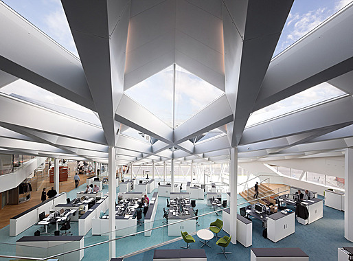 Interior of the 3XN-designed Middelfart Sparekasse (Photo: Adam Mrk)