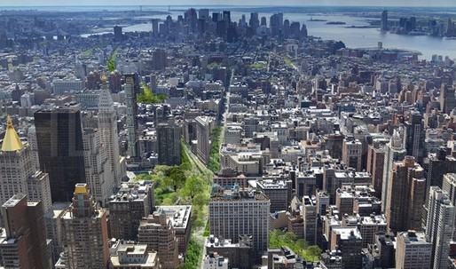 "What if: Perkins Eastman's ""Green Line"" proposal turns Broadway into a 40-block park in the heart of Manhattan"