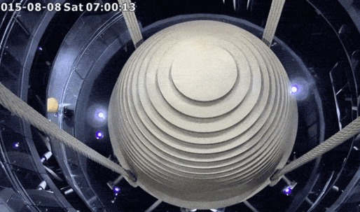 Watch Taipei 101's 728-ton mass damper in action during Typhoon Soudelor