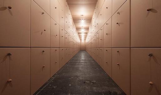Zimoun: 318 prepared dc-motors, cork balls, cardboard boxes 100x100x100cm