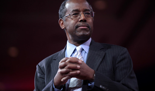 Ben Carson gets stuck in an elevator during a tour of a public housing complex