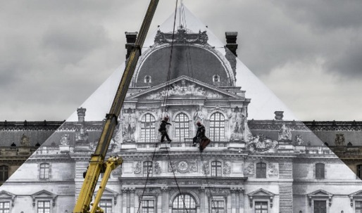 Artist JR covers the I.M. Peis Pyramid in giant image of the Louvre