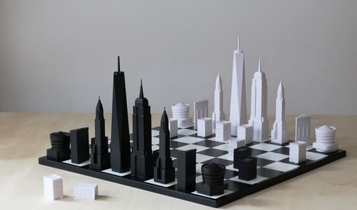 A chess set that forms the New York City skyline