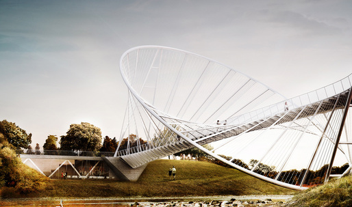 "The ""O"" bridge proposal by Chris Precht and Alex Daxböck for Salford Meadows Bridge Competition"