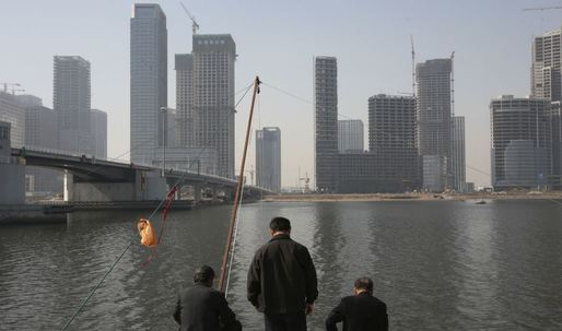 China's replica of Wall Street is full of half-built, deserted skyscrapers and floods regularly