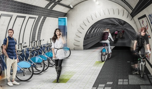 "Gensler proposes ""Underline"" bike paths in London's abandoned tube tunnels"