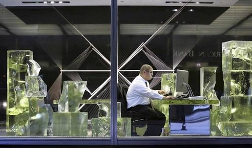 "Frank Gehry designs ""Icehenge"" desk for Inland Steel in Chicago"