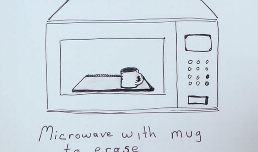 A sketchbook you can draw on by hand, upload to the cloud, then erase in your microwave