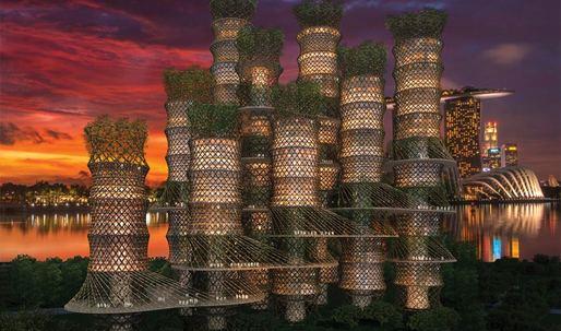 A bamboo skyscraper fosters public life