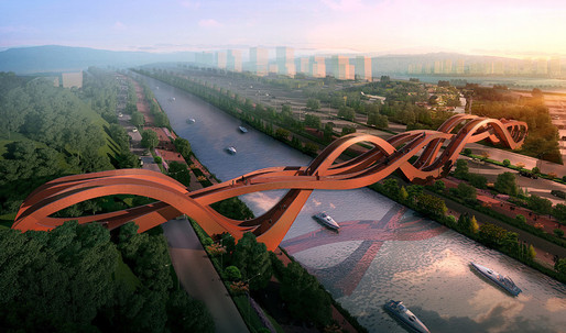 "NEXT Architects design a swooping ""Mobius strip"" bridge for Changsha, China"