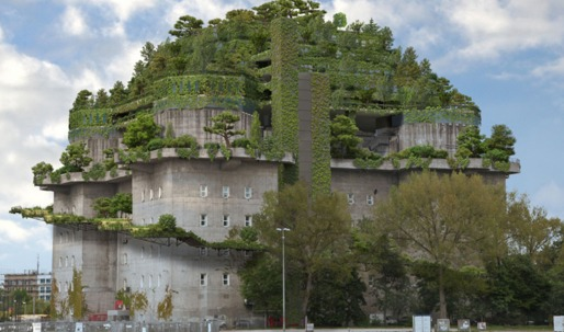"WWII German bunker adds ""green mountain"" on top in radical repurposing"