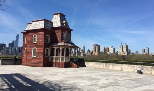 "A full-scale replica of the ""Psycho"" house touches down on the roof of the Met"