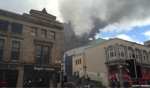 Glasgow School of Art on fire....