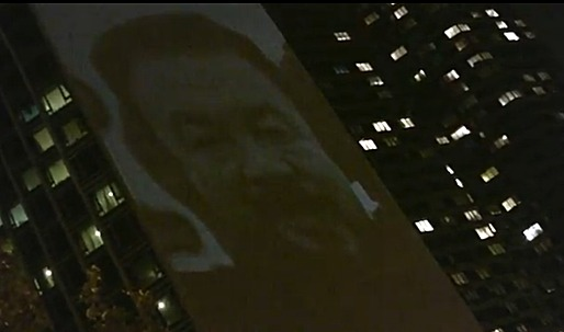 Ai Weiwei's Face Projected onto Chinese Consulate