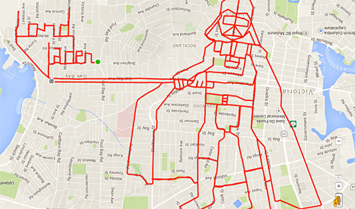 These fascinating GPS doodles were drawn by cycling the grid of the city