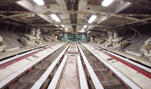 This drone video takes you on a fascinating flight through the guts of Seattle's Bertha tunneling machine