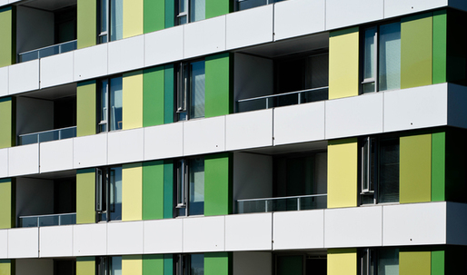 Color-changing green-hued aluminum composite material reflects sustainable design of new mixed-use community