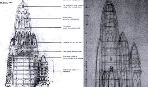 Gaudí envisioned a parabolic hotel apparently proposed for site of original WTC Twin Towers