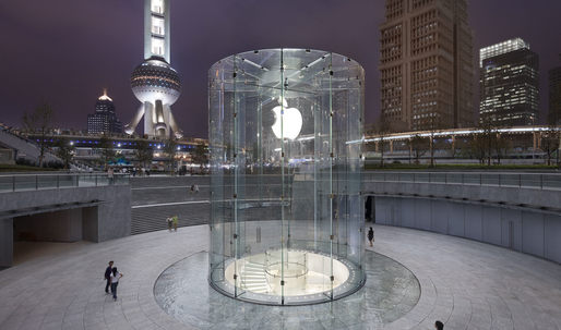 Apple patents Shanghai Apple Stores glass cylinder entryway; Steve Jobs co-credited as inventor