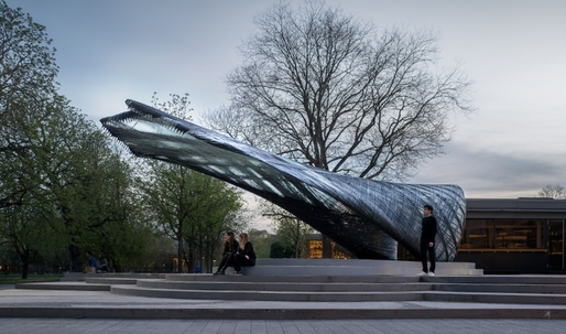 The ICD/ITKE Pavilion makes use of lightweight, super strong glass and carbon-fiber materials