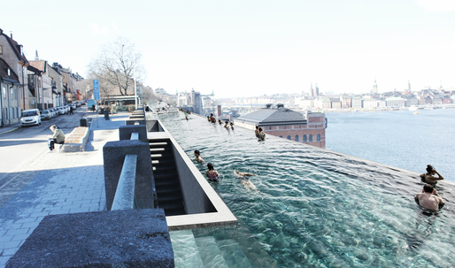 UMA proposes a kilometer-long infinity pool for Stockholms waterfront