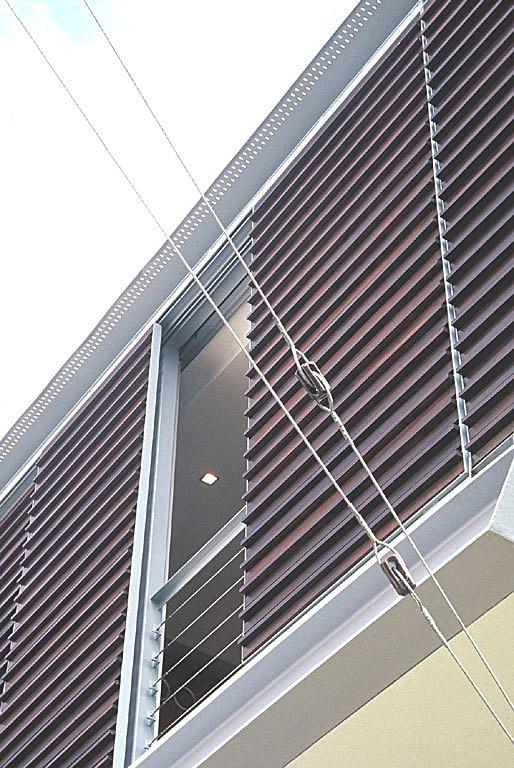 Detail of sliding timber screens