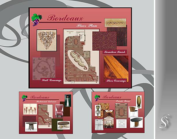 Restaurant Design Floor Plan and Material Board