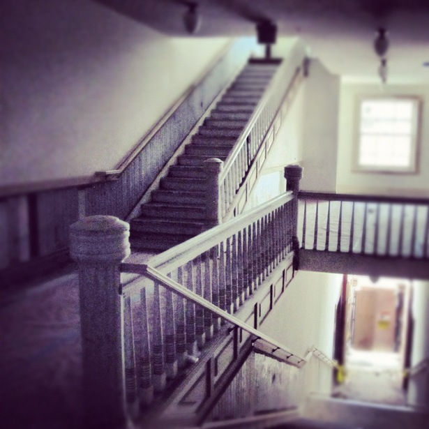 restored staircase during construction