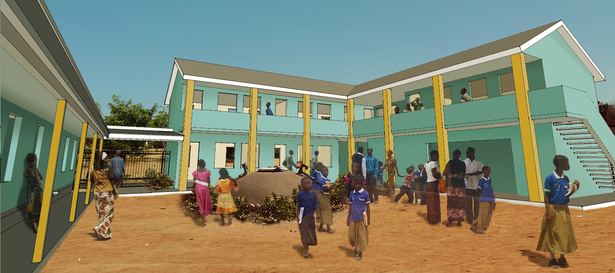 Rendering of the children's courtyard and new two-story administrative block building, containing classrooms, offices and latrines.