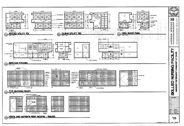 Interior Elevations- Utility, Meds Room, Service Kitchen, Bathing, and Rest Rooms.