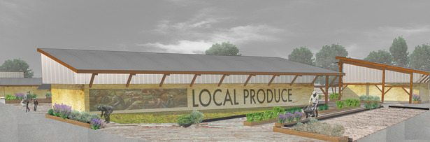 Cafe and Market Building rendering