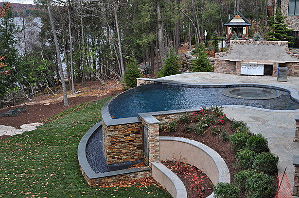The pool, vanishing edge, waterfall, and trough 