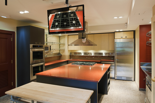 Modern demonstration kitchen at ground level