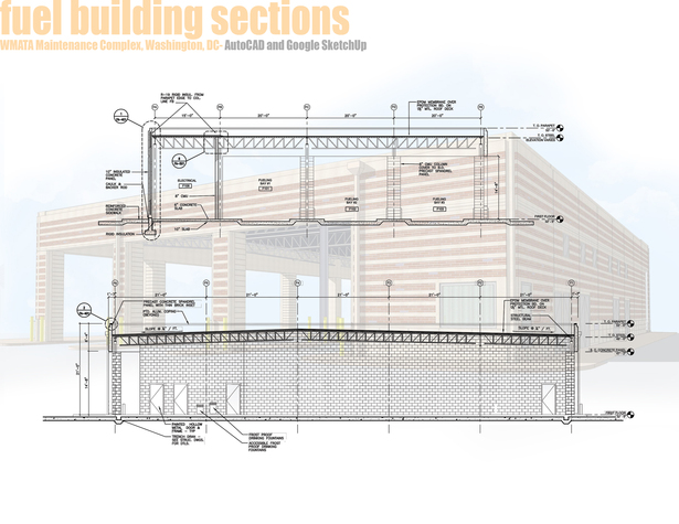Fuel Building - Building Sections and Sketchup Render