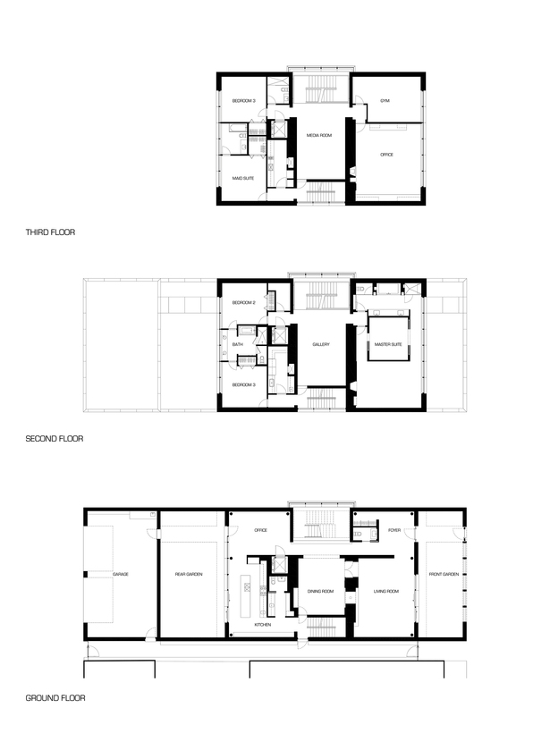 Plans of the house's different levels