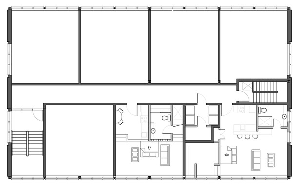 Alternate plan showcasing one typical studio unit, one large studio unit both with hideaway beds